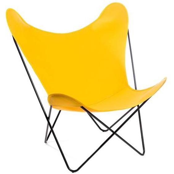Manufakturplus - Butterfly Chair Hardoy - B.K.F. Chair Stahlrahmen weiß, Acryl gelb - outdoor