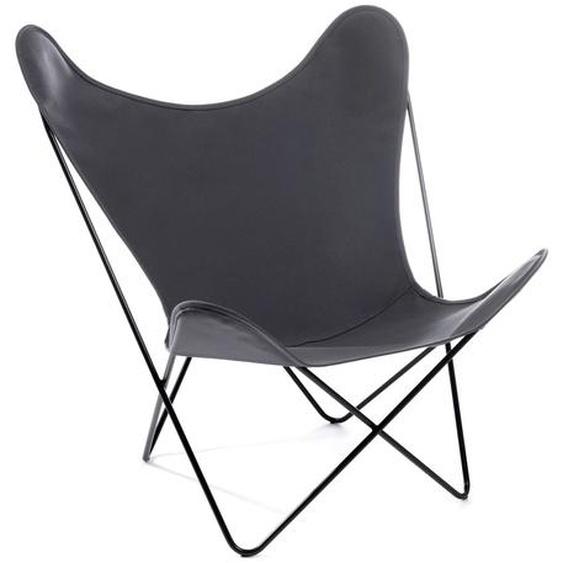 Manufakturplus - Butterfly Chair Hardoy - B.K.F. Chair Stahlrahmen weiß, Acryl grau - outdoor