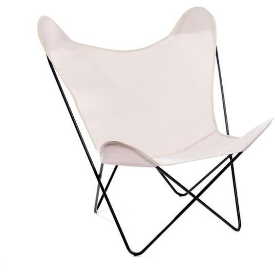 Manufakturplus - Butterfly Chair Hardoy - B.K.F. Chair Stahlrahmen weiß, Acryl wollweiss - outdoor