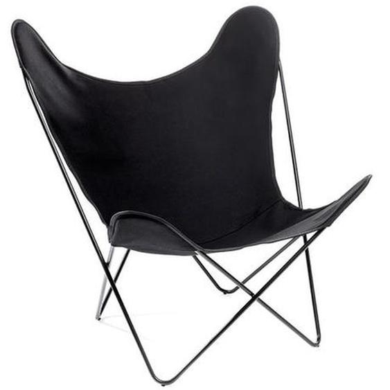 Manufakturplus - Butterfly Chair Hardoy - B.K.F. Chair Stahlrahmen weiß, Baumwolle schwarz - outdoor