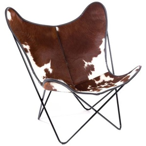 Manufakturplus - Butterfly Chair Hardoy - B.K.F. Chair Stahlrahmen weiß, braunbuntes Fell - outdoor