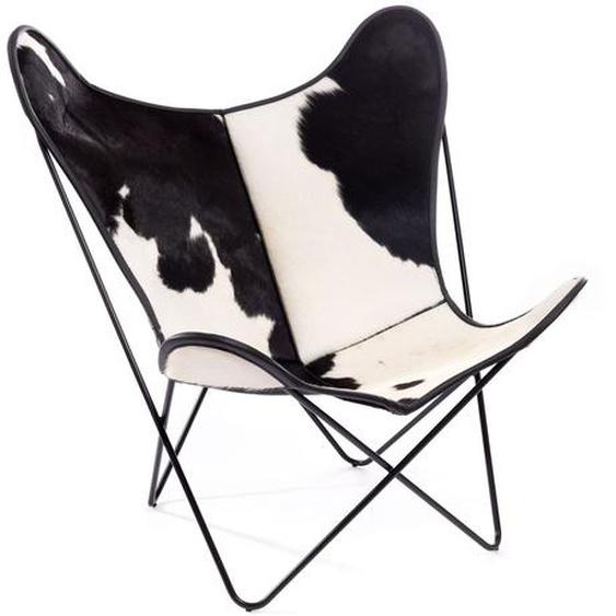 Manufakturplus - Butterfly Chair Hardoy - B.K.F. Chair Stahlrahmen weiß, schwarzbuntes Fell - outdoor
