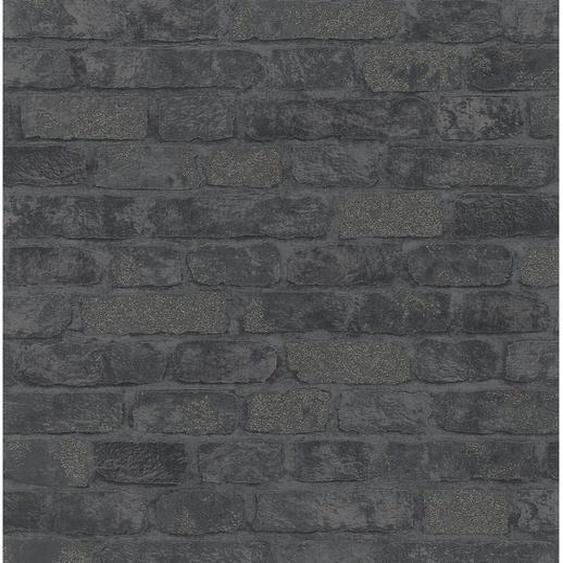 Marburg Vliestapete Imagine Holz/Stein Schwarz
