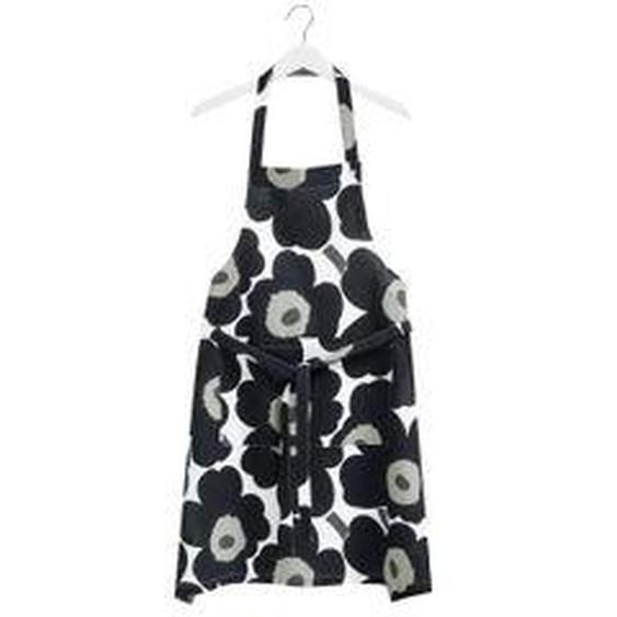 Marimekko - Pieni Unikko Schürze, weiß / schwarz / olive