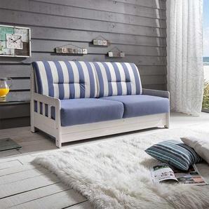 Maritimes Sofa mit Schlaffunktion Blau Wei� gestreift