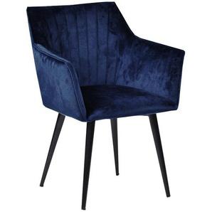 Mary - Armlehnstuhl/Polsterstuhl, Samt, Blau