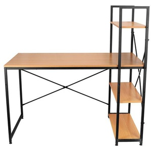 Masbekte Schreibtisch, Computertisch Bürotisch mit Ablage, Industriestil, Einteilig, Eck Computer Holztisch mit Bücherregal, Gelb