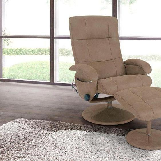 Massage-Sessel, 73x100x50 cm (BxHxT), Alpha Techno, beige, Material Metall, Polyester