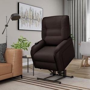 Massage-TV-Sessel mit Aufstehhilfe Elektrisch Kunstleder Braun