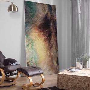 Massagesessel braun Kunstleder mit Fusshocker FORCE