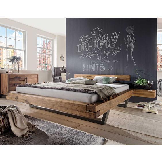 Massiv Balkenbett aus Wildeiche geölt kaufen (dreiteilig)