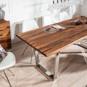 Massiver Baumstamm Esstisch MAMMUT 180cm Sheesham 3,5cm Tischplatte Baumtisch