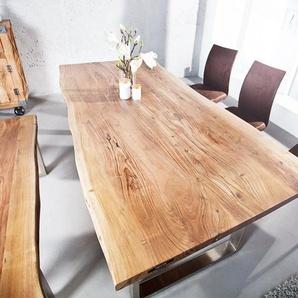 Massiver Baumstamm Tisch MAMMUT 200cm Akazie Industrial Kufengestell 3,5cm Tischplatte Baumtisch