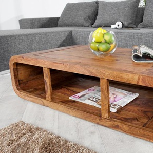 Massiver Couchtisch CURVED Sheesham Holz Stone Finish TV-Lowboard