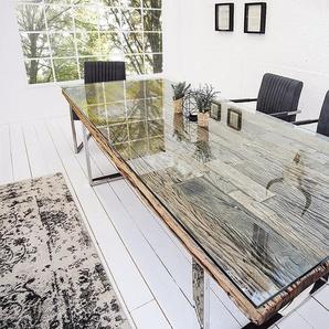 Massiver Esstisch BARRACUDA 200cm antik Teak Holz mit Stahl Kufenfüßen inkl. Glasplatte