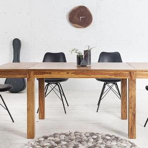 Massiver Tisch PURE 120-200cm Sheesham mit Ansteckplatten einzigartige Maserung