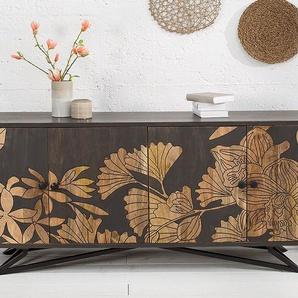 Massives Sideboard JUNGLE 175cm Mangoholz Florales Design