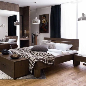 Massivholz Bett in Wengefarben Buche lackiert