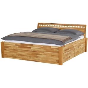 Massivholz-Bettgestell mit Bettkasten | holzfarben | 196 cm | 93 cm | Möbel Kraft