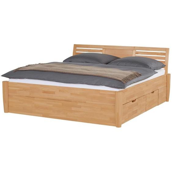 Massivholz-Bettgestell mit Bettkasten Timber ¦ holzfarben
