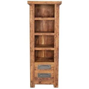 Massivholz Bücherregal aus Teak Recyclingholz rustikal