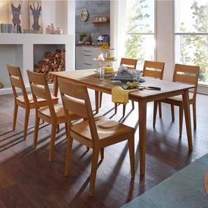 Massivholz Essgruppe aus Wildeiche geölt Tisch 180 cm (7-teilig)