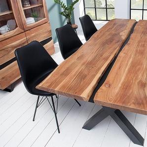 Massivholz Esstisch AMAZONAS 200cm Akazie Metall schwarz Baumkante Baumtisch