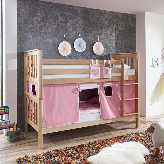 Massivholz Etagenbett aus Buche lackiert Vorhang in Rosa Weiß