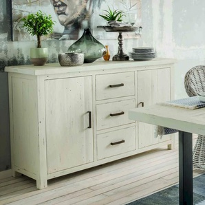 Massivholz History Pine Sideboard Pinienholz, white-wash-finish / B 153 x H 90 x T 54 cm