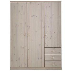 Massivholz Kleiderschrank mit Aufsatz Weiß