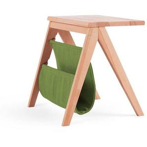 Massivholz Nachttisch aus Kernbuche Ablage in Gr�n Microvelour