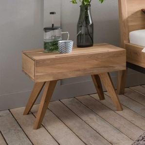 Massivholz Nachttisch Set in Bianco geölt Wildeiche