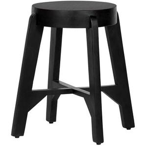 Massivholz Sitzhocker in Schwarz rund