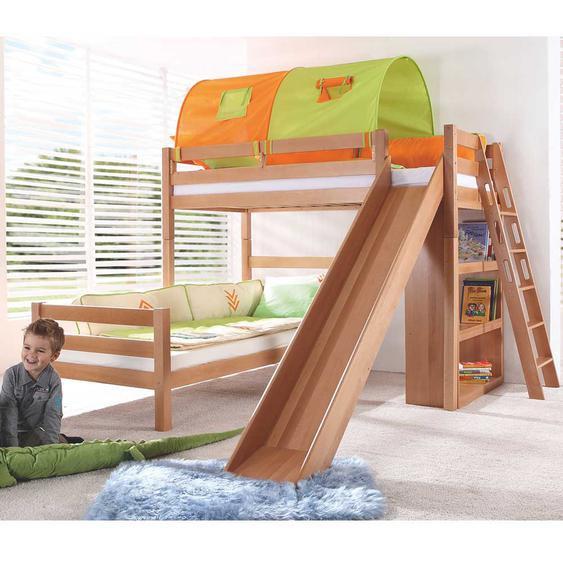 Massivholz-Spielbett mit Rutsche Grün-Orange