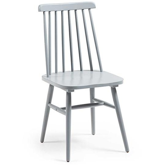 Massivholz Stühle in Hellgrau verstrebter Rückenlehne (2er Set)
