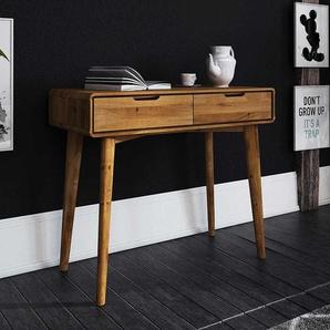 Massivholz Telefontisch in Wildeichefarben 90 cm breit