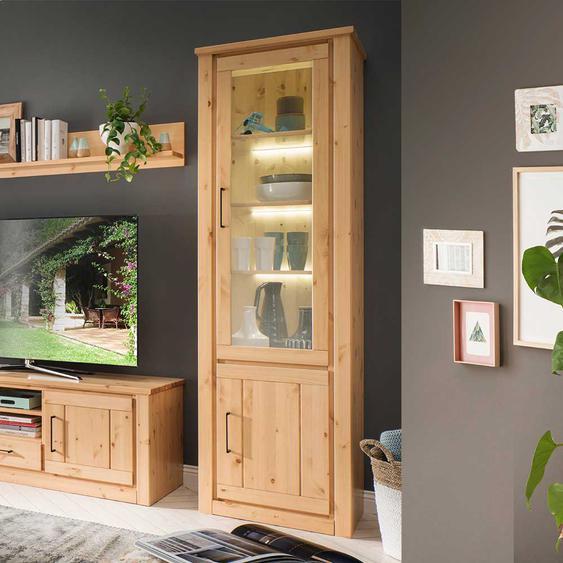 Massivholz Vitrinenschrank aus Kiefer Landhaus Design