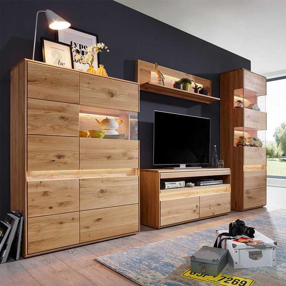 Massivholz Wohnwand aus Wildeiche gebürstet und geölt LED Beleuchtung (4-teilig)