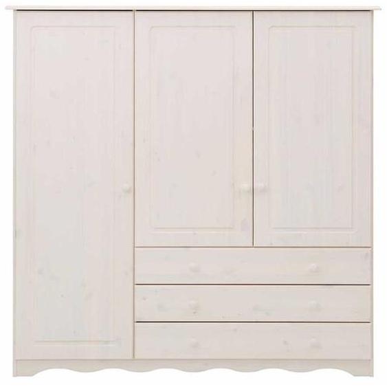Massivholz Wäscheschrank in Weiß lasiert 140 cm breit