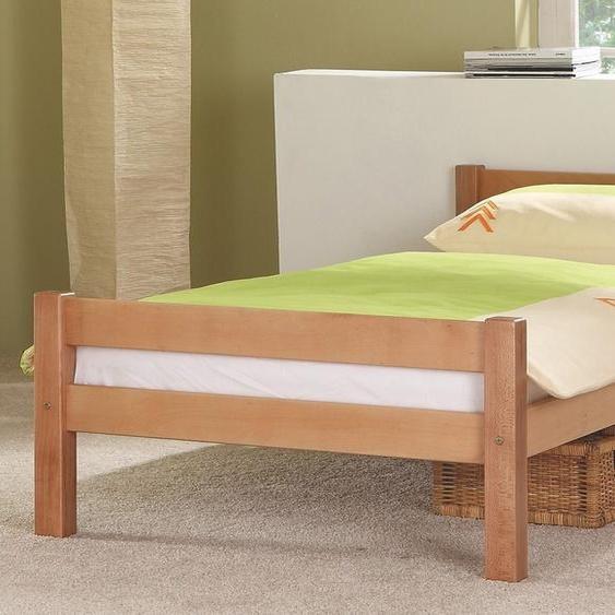 Massivholzbett, 95x208x62.5 cm (BxLxH), mit Federkern, FSC®-zertifiziert, Relita, braun, Material Buche,  lackiert