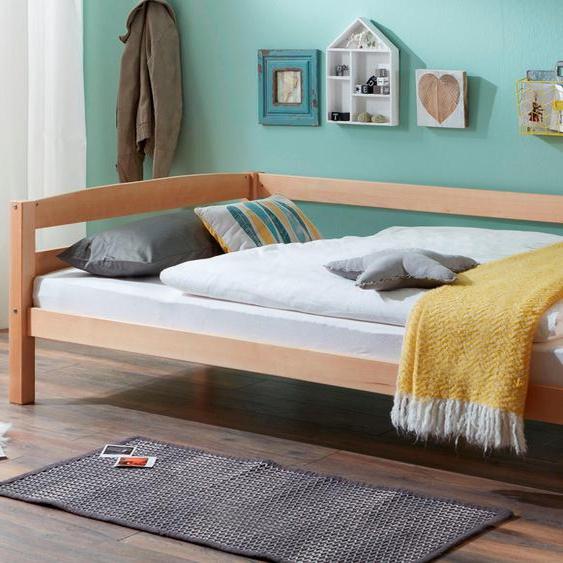 Massivholzbett, 98x208 cm (BxL), FSC®-zertifiziert, Relita, mehrfarbig, Material Buche