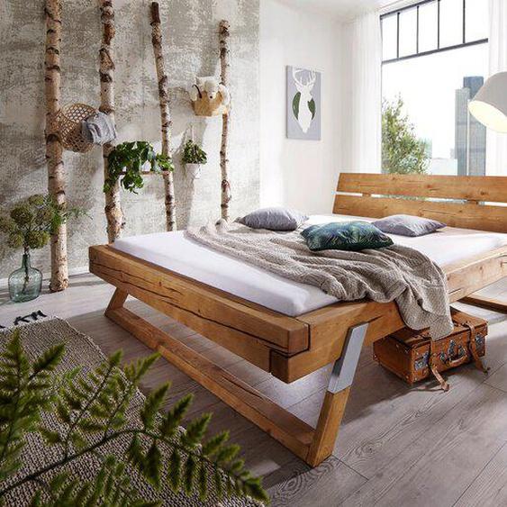 Massivholzbett, Kiefer, Holz 180 x 200 cm
