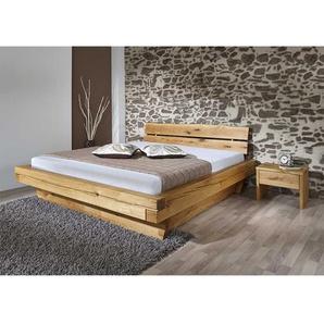 Massivholzbett mit zwei Nachtkommoden geölt (dreiteilig)