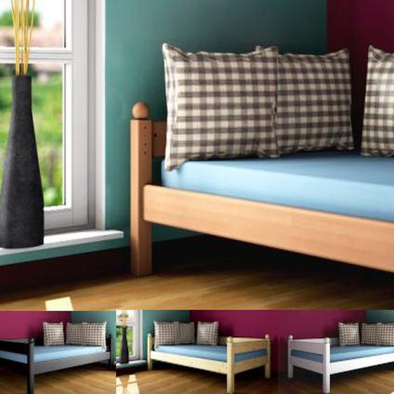 Massivholzbett Stockholm 1 Dahlhaus Buche natur, weiß, blau, schwarz
