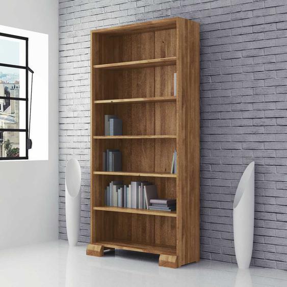 Massivholzregal für Bücher Wildeiche geölt
