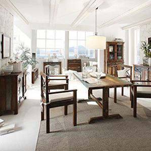 Massivum Cruzar Tischgruppe, Recyceltes Holz, braun, 90 x 180 x 78 cm