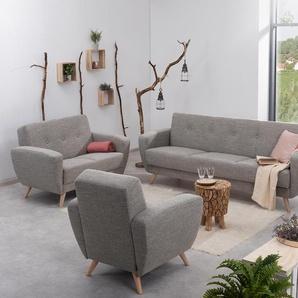 Max-Winzer®-Sessel »Justus« mit grau meliertem Webstoff - grau - Massivholz -