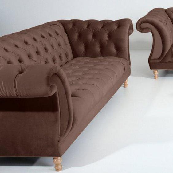 Max Winzer® Sitzgruppe »Isabelle«, (3-tlg), mit edler Knopfheftung & gedrechselten Füßen in Buche natur, Polstergarnitur 3-tlg.