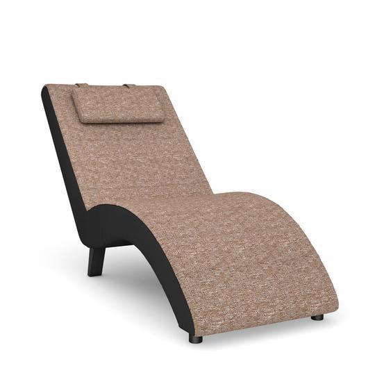 Max Winzer Relaxliege build-a-chair Nova Flachgewebe, 63 cm, Korpus: Kunstleder schwarz, Füße: Schwarz beige Chaiselongues Recamieren Sofas Couches