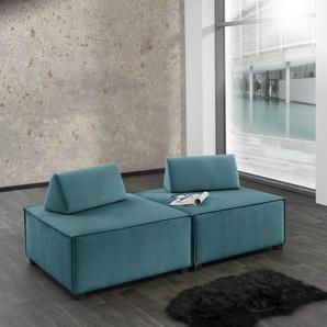 Max Winzer Wohnlandschaft MOVE, Sofa-Set 10 aus 2 Hockern, inklusive Kissenaufsätze, individuell kombinierbar B/H/T: 180 cm x 70 90 cm, Flachgewebe 16525 blau Sofas Couches Möbel sofort lieferbar